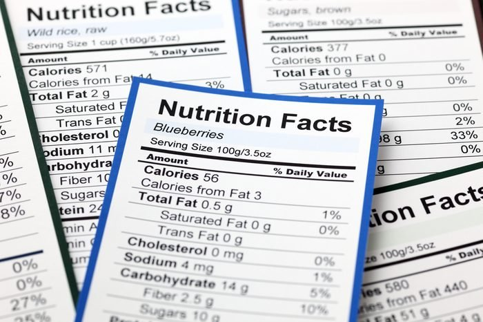 Lots of Nutrition facts. Close-up.