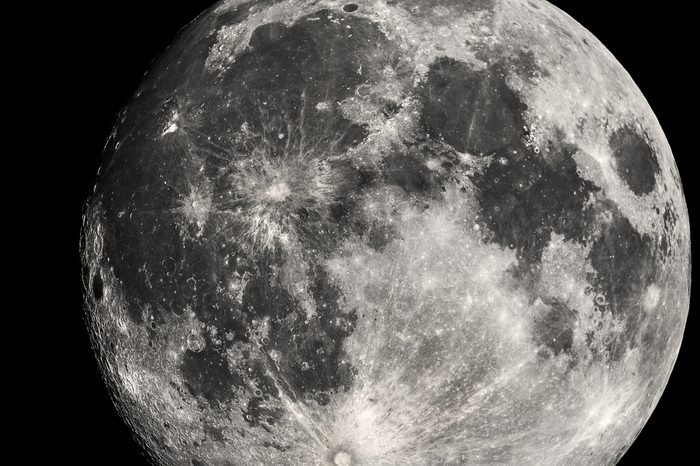 Highly detailed close up view of the moon showing all the craters on the lunar surface. Photo taken from my backgarden with a personal telescope for astrophotography.