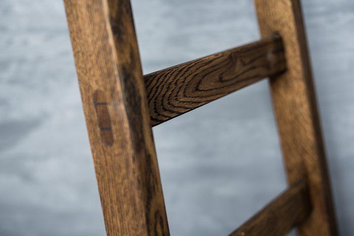 Wooden ladder close-up soft focus