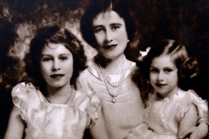 Princess Elizabeth (later Elizabeth II) with her sister Margaret and mother Queen Elizabeth.