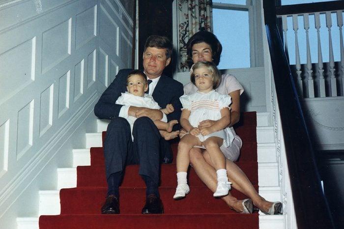 President Kennedy and family. President Kennedy, Mrs. Kennedy, John F. Kennedy, Jr., Caroline Kennedy. Newport, RI, Hammersmith Farm.