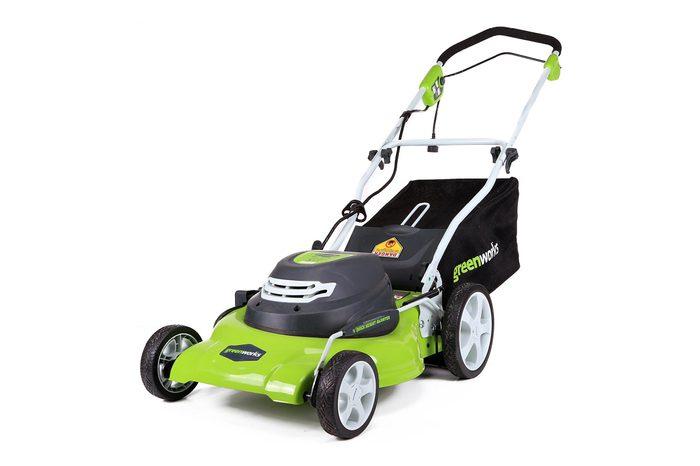 lime green lawnmower