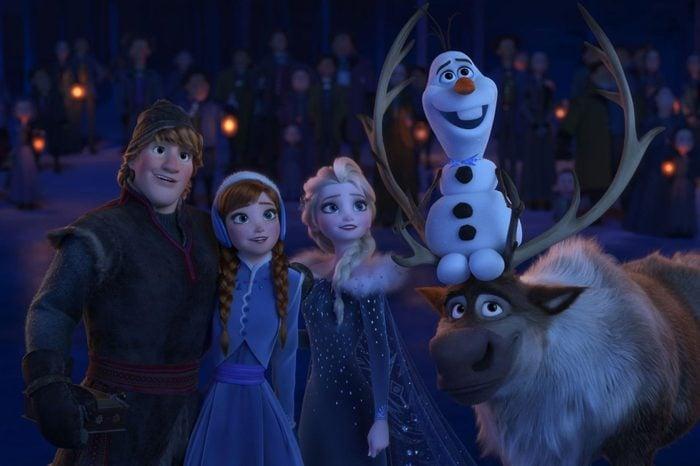 Kristoff (Jonathan Groff), Anna (Kristen Bell), Elsa (Idina Menzel), Olaf (Josh Gad)