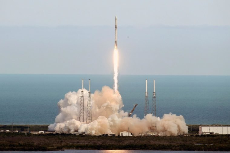 A SpaceX Falcon 9 rocket lifts off from launch complex 40 at the Cape Canaveral Air Force Station in Cape Canaveral, Fla., . The spacecraft is on its 14th operational cargo delivery flight to the International Space Station