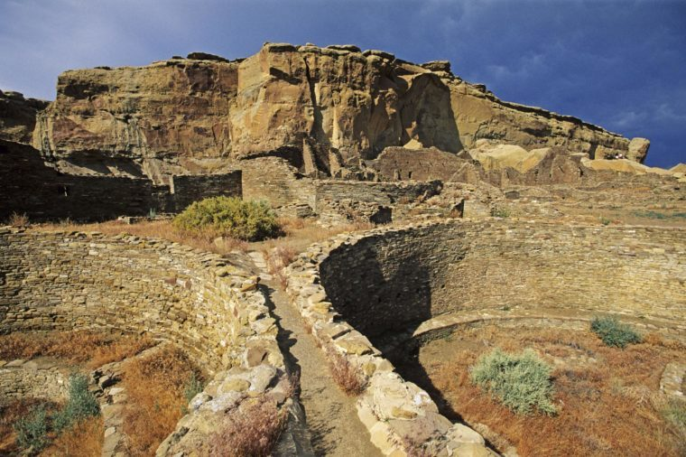 Excavated kivas, Chaco Culture National Historical Park, New Mexico, USA, America