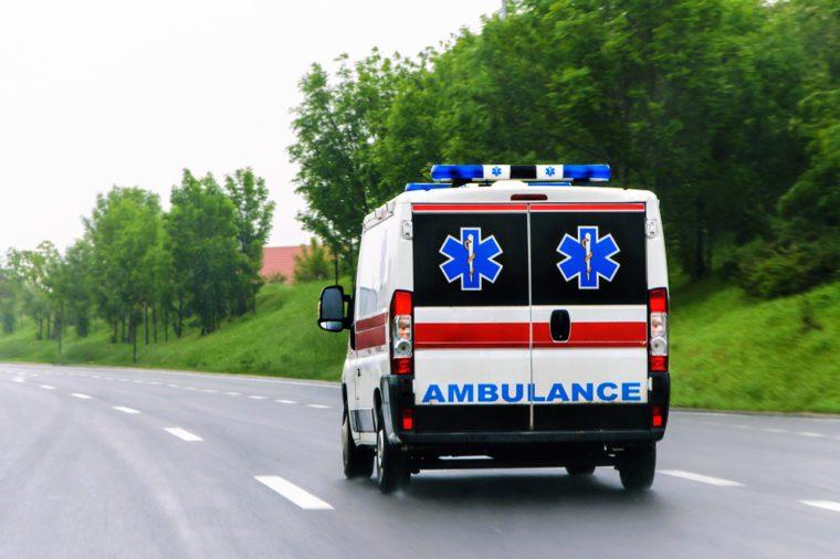 Ambulance van on highway