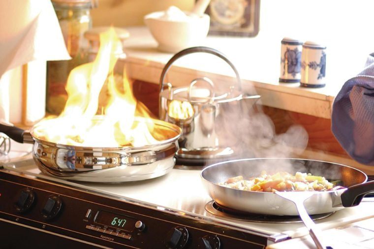 fire while cooking on stove