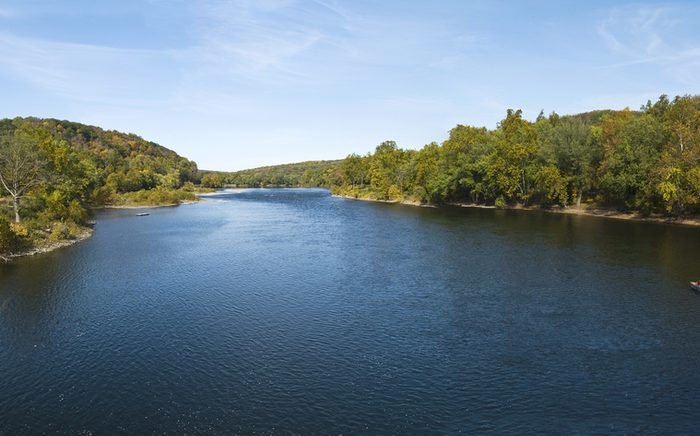 A panoramic view of the Delaware River near Washington Crossing, between Pennsylvania and New Jersey.