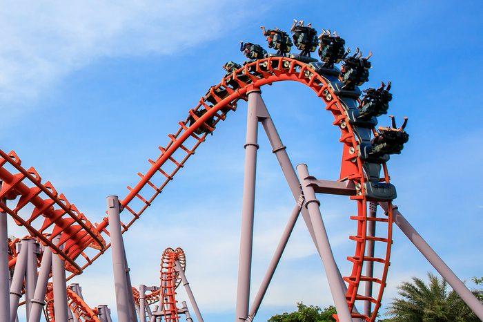Roller Coaster at amusement park of Bangkok, Thailand.
