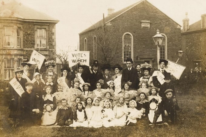 A Typical Local Meeting Supporting the Cause - Participants in A Protest Meeting at Soundwell Avon Pose For Their Photo On the Lawn of the Salem Chapel circa 1910