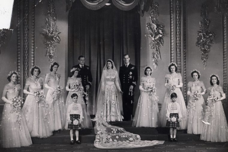 An Official Wedding Portrait Of Princess Elizabeth And The Prince Philip - Prince Philip Taken After Their Wedding Ceremony The Wedding Group With Best Man Bridesmaids (including Princess Margaret Rose (21 August 1930 ? 9 February 2002) Right Beside Prince Philip) And The Page Boys.. Lady Mary Cambridge Is Third From Left Princess Alexandra of Kent Is Fourth From Left. Original Library Print In Packet: Lp3d - Queen Elizabeth II - Wedding Day 1947