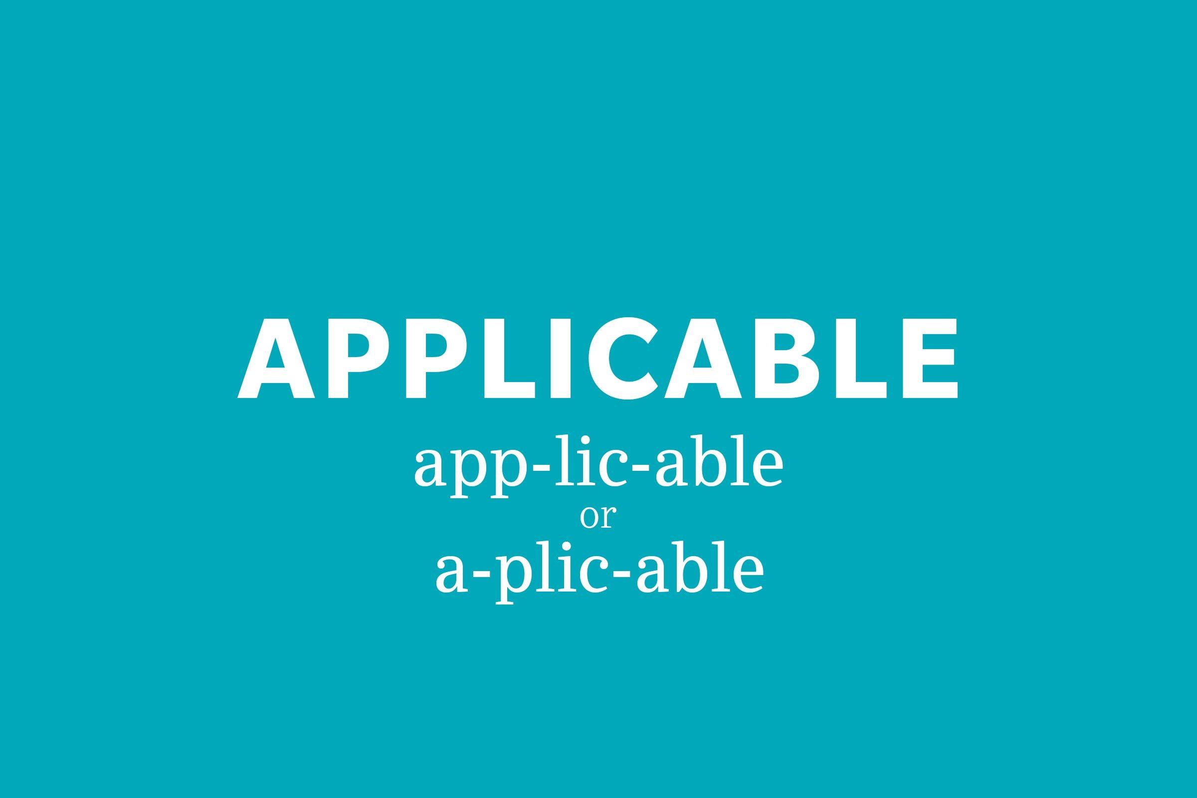 applicable pronunciation