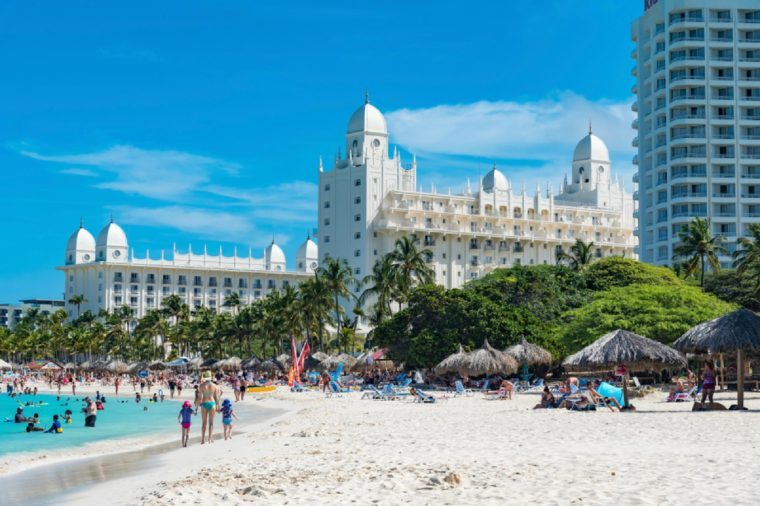 Aruba, Caribbean- January 15 2018 : building of the great Hotel Riu Palace in Aruba in the Caribbean sea for relaxing by the sea even in winter