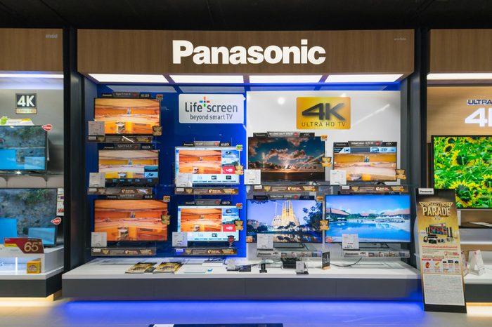 BANGKOK - Jan 10: Panasonic LCD TV display at Power Buy in Central Festival Department Store on Jan 10, 2016 in Bangkok, Thailand.