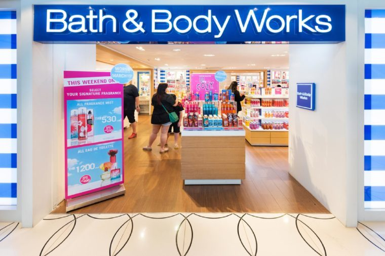 BANGKOK - MARCH 17, 2016: Unidentified people choose goods at the Bath and Body Works store in the Siam Center. It was built in 1973 and was one of Bangkoks first shopping malls.