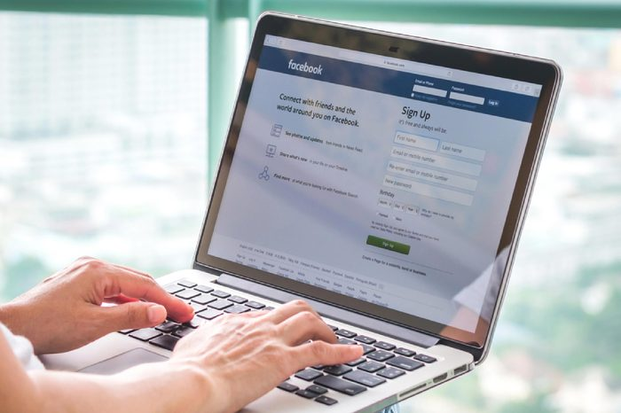 Bangkok, Thailand - DECEMBER 3, 2015: Facebook social network on pc laptop with user sign up or log in registration screen.