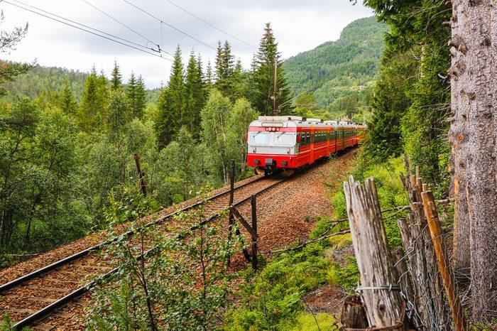 Oslo - Bergen train going thorough mountains. Norway.