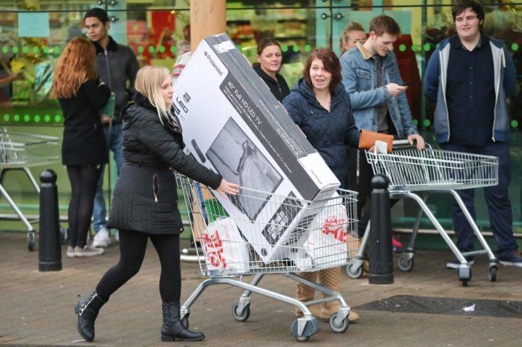 Black Friday queues in Cambridge, Britain - 28 Nov 2014