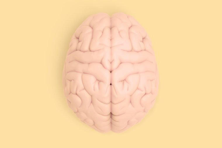 3D brain rendering illustration in top view template background isolated on yellow pastel color with clipping path to use in any backdrop