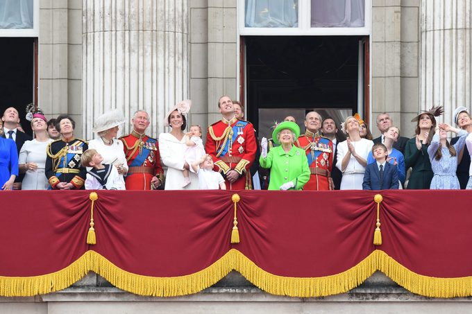 Britain's Queen Elizabeth II and members of the British Royal Family