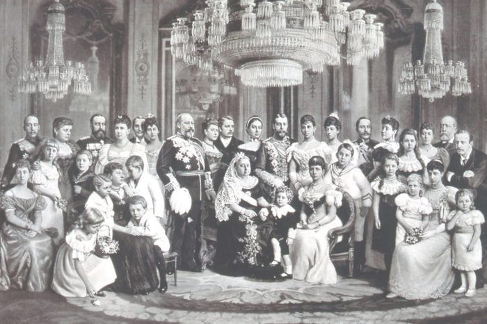 British royal family and its European connections - 1897. In centre is Queen Victoria surrounded by her children and their spouses, and by some of her numerous grandchildren. Victoria is seated with Alexandra, Princess of Wales. The Prince of Wales, later Edward VII, stands beside the Queen. Photograph