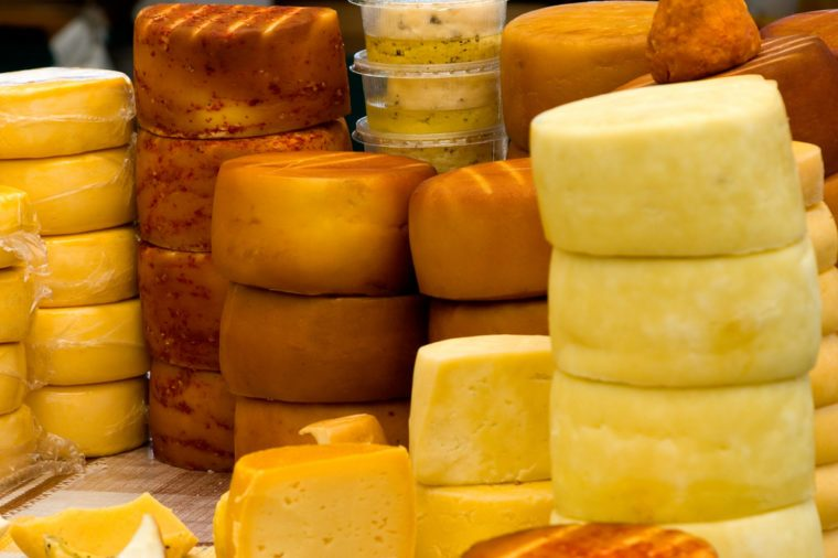 Cheese - stacks of cheese on a market in croatia