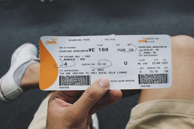 Chiangmai, Thailand - January 17, 2018 : close-up hands hold boarding pass from Chiangmai airport to Bangkok Thailand of Thai Smile airlines .