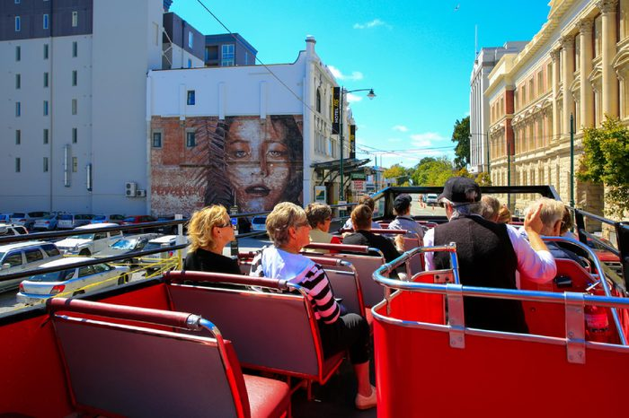 CHRISTCHURCH, NEW ZEALAND - FEBRUARY 15, 2015: city view from open top tour bus.