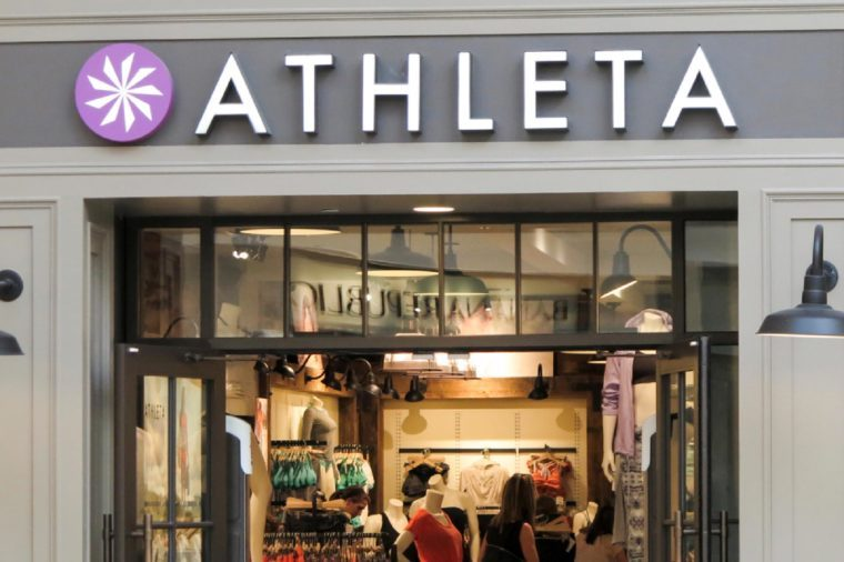 DENVER, USA - JUNE 25, 2014: Detail of Athleta store in Denver. Athleta designs athletic clothing for active women and is founded at 1998.