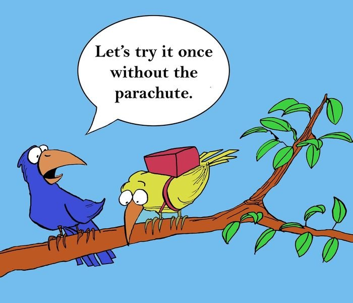 """Encouraging the newcomer, the trainer says, """"Let's try it once without the parachute""""."""