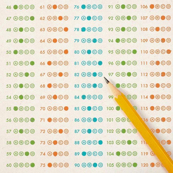 Quiz with pencil