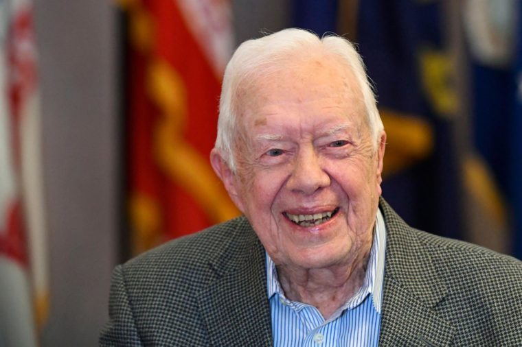"Former President Jimmy Carter, 93, sits for an interview about his new book ""Faith: A Journey For All"" which will debut at no. 7 on the NYT best sellers list, pictured before a book signing, in Atlanta"