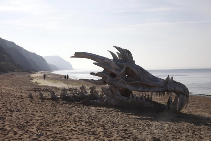 'Game of Thrones' dragon skull appears on Charmouth beach, Dorset, Britain - 15 Jul 2013