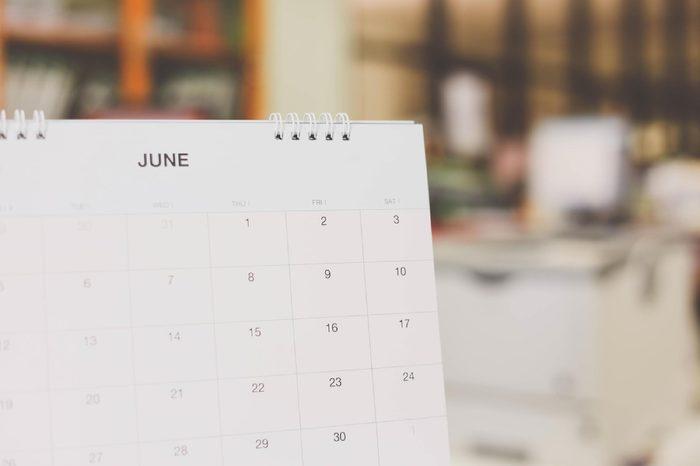 Calendar page, June 2017