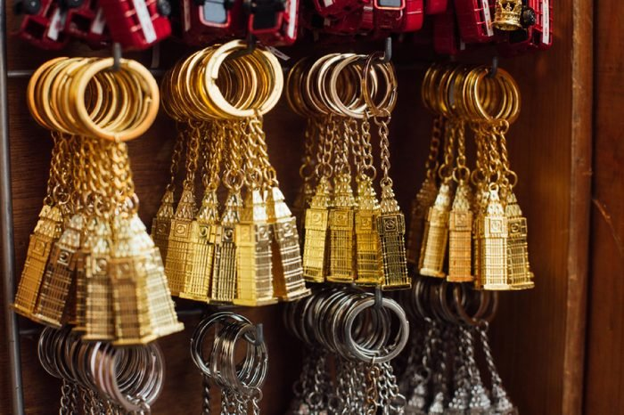 London, UK - March 11 2018: board with popular Big Ben souvenir keyrings. Such souvenirs very popular among the tourists and can be bought in different shops all over the London.