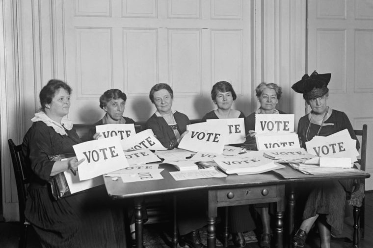 National League of Women Voters hold up signs reading, 'VOTE', Sept. 17, 1924. Millions of women voted in 1920 and 1924, but in a lower proportion than men.