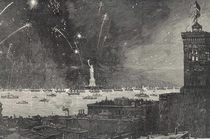 New York: Inauguration of Bartholdi's Statue of Liberty in 1886 with A Firework Display 1886