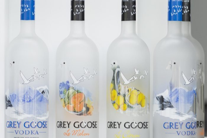 New York, NY USA - August 23, 2017: Bottles of Grey Goose vodka on display at US Open 2017 championship