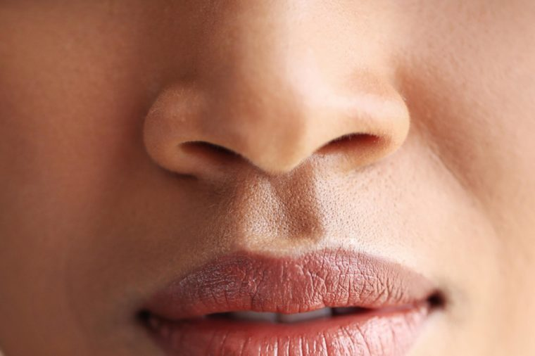 Face. Female lips in close-up