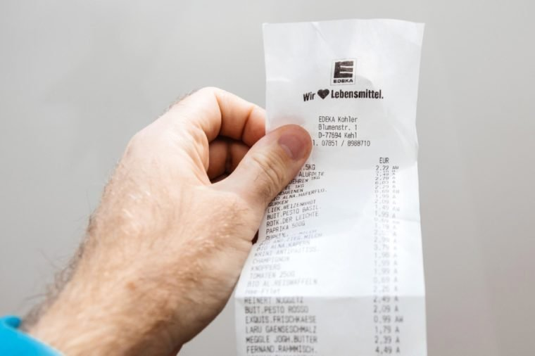 PARIS, FRANCE - FEB 21, 2018: Macro detail of Supermarket receipt issued in Germany by Edeka food supermarket