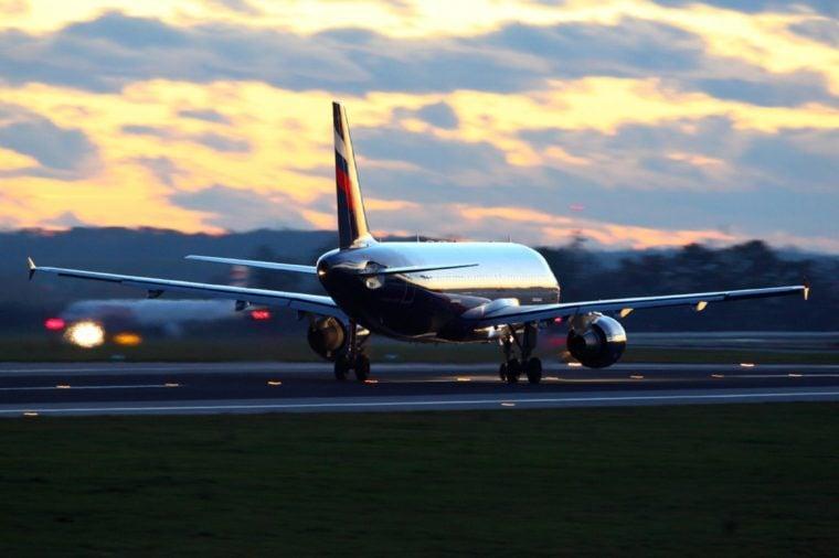 PRAGUE, CZECH REPUBLIC - NOVEMBER 2, 2012: Airbus A320-214 VQ-BIT of Aeroflot Russian Airlines landing at Ruzyne international airport.