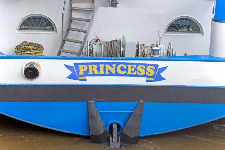 Princess yacht's name, close up