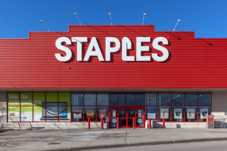 Richmond Hill, Ontario, Canada - February 24, 2018: Staples storefront. Staples, Inc. is an American multinational office supply retailing corporation.
