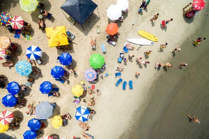 RIO DE JANEIRO, BRAZIL - CIRCA JAN 2016: Top view of beach in Rio de Janeiro, Brazil
