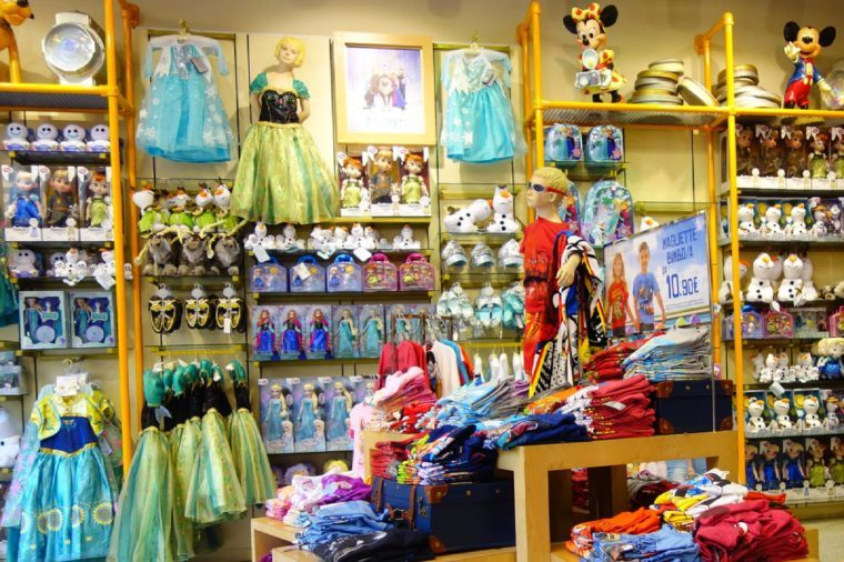 Rome, Italy - July, 2015: Disney store indoor shopping mall