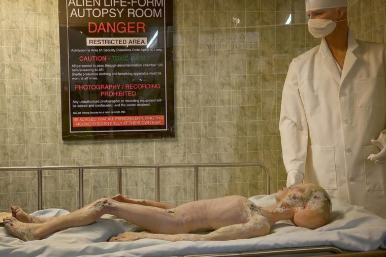 ROSWELL, NEW MEXICO - MARCH 28: Body of alien crash victim on display at the International UFO Museum and Research Center in Roswell, New Mexico on March 28th, 2016.