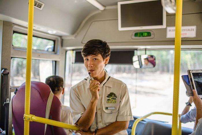male instructor guiding tourists Vinpearl Safari, Phu Quoc Island, Vietnam