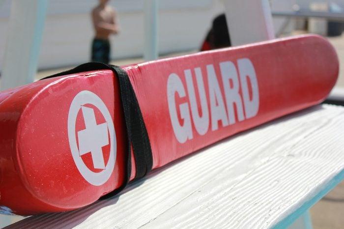 Lifeguard Rescue tube on Pool Lifeguard Stand