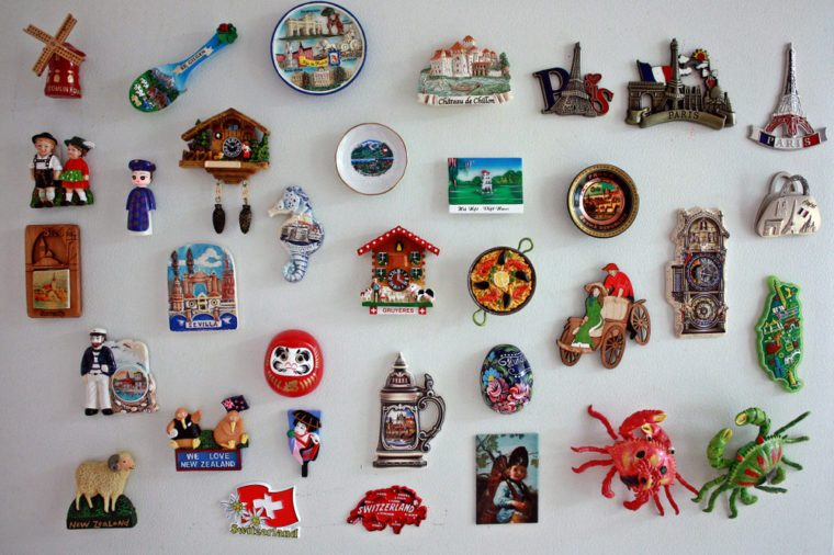 Magnetic souvenirs of various countries