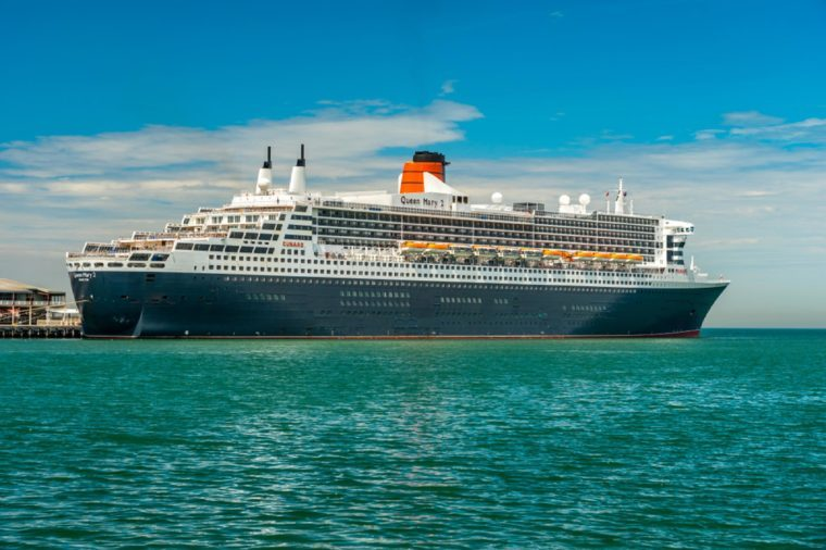 Queen Mary 2 cruise liner docked at Port Melbourne pier